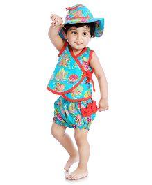 Little Pockets Store Overlap Top Hat & Diaper Cover Set - Blue