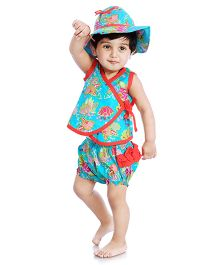 Little Pockets Store Overlap Top Hat & Diaper Cover Set - Blue