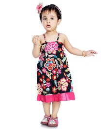 Little Pockets Store High Low Flower Printed Dress With Bloomer - Black
