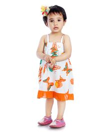 Little Pockets Store High Low Butterfly Printed Dress With Bloomer - White & Orange