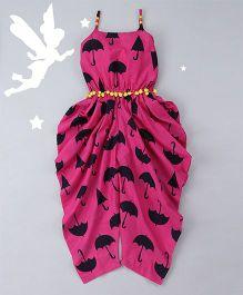 Soul Fairy Umbrella Print Dhoti Jumper - Pink