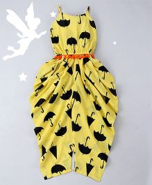 Soul Fairy Umbrella Print Dhoti Jumper - Yellow