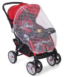 Musical Baby Stroller Cum Pram With Mosquito Net - Red & Black