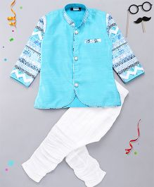 Babyhug Full Sleeves Kurta And Breeches Set - Turquoise Blue