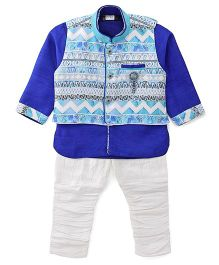Babyhug Kurta Jacket And Jodhpuri Breeches Set - Blue White