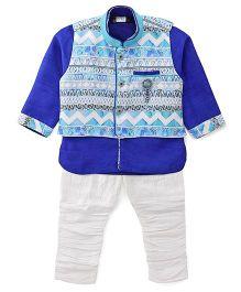 Babyhug Kurta Jacket And Jodhpuri Breeches Set - Blue White