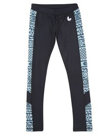 Tyge Contrast Printed Sports Track Pant - Navy Blue