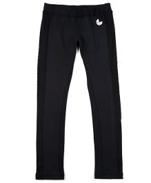 Tyge Solid Sports Full Length Track Pants - Black