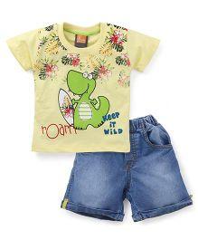 Little Kangaroos Half Sleeves T-Shirt And Shorts Dino Print - Yellow Blue