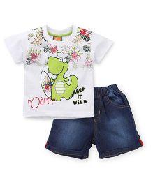 Little Kangaroos Half Sleeves T-Shirt And Shorts Dino Print - White Blue