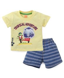 Little Kangaroos Half Sleeves T-Shirt And Shorts Printed - Yellow Blue