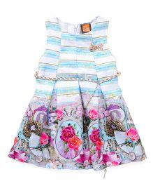 Little Kangaroos Sleeveless Partywear Dresses With Print - Sky Blue