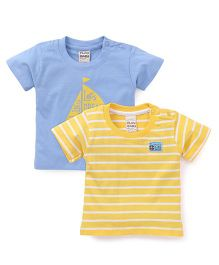 Play by Little Kangaroos Half Sleeves T-Shirts Pack of 2  - Blue Yellow
