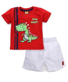 Little Kangaroos Half Sleeves T-Shirt And Shorts Dino Print - Red White