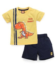 Little Kangaroos Half Sleeves T-Shirt & Shorts Baby Dino Print - Yellow Black