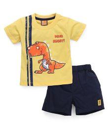 Little Kangaroos Half Sleeves T-Shirt & Shorts Baby Dino Print - Yellow Black