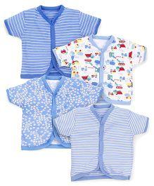 Kidi Wav Printed Pack Of 4 Half Sleeves Vest - Sky Blue