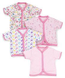 Kidi Wav Floral & Snail Printed Half Sleeves Vest Pack Of 4 - Pink