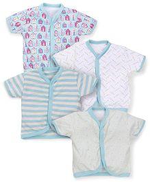 Kidi Wav House Prints Half Sleeves Vest Pack Of 4 - Mint