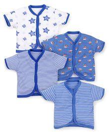 Kidi Wav Super Star Printed Set Of 4 Vest - Royal Blue