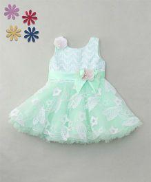 Enfance Self Work Layered Dress Attach Butterflies & Stars Applique - Light Green