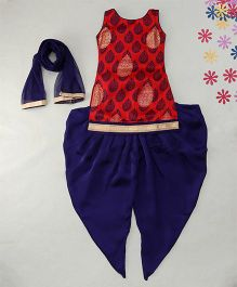 Enfance Set Of Kurta & Dhoti Pant With Dupatta - Red & Blue