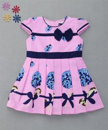 Enfance Cap Sleeves With Front Bow Attachment Dress - Pink