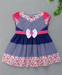 Enfance Flower Designed Dress With Flower Bow Attachment - Pink