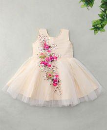 Enfance Hand Work Dress Attached With Flower Broach - Cream