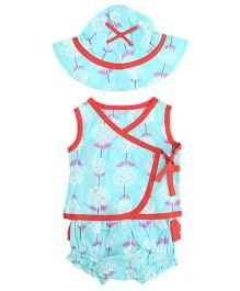 Little Pockets Store Gorgeous Floral Overlap Top Hat & Diaper Cover Set - Light Blue