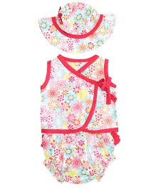 Little Pockets Store Sleeveless Top Hat & Diaper Cover Set - Pink
