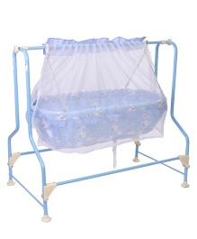 New Natraj Cocoon Baby Cradle Teddy Print With Mosquito Net - Blue