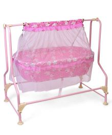 New Natraj Cocoon Baby Cradle Teddy Print With Mosquito Net - Pink