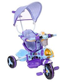 Baby Tricycle With Canopy and Push Handle - Blue And Purple