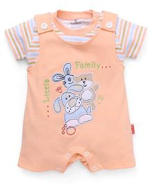 Child World Half Sleeves Dungaree Style Romper Little Family Patch - Peach