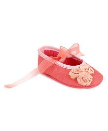 Barbie Bellies Style Booties With Floral Appliques - Rose Pink