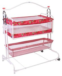 New Natraj Compact Cradle With Storage Basket Teddy Print - Red