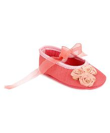 Barbie Bellies Style Booties Floral Appliques - Rose Pink