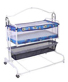 New Natraj Compact Cradle Cum Bassinet With Storage Basket Teddy Print - Blue