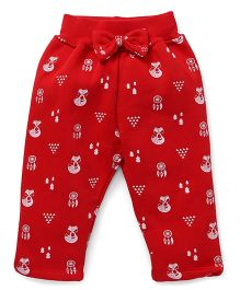 Play by Little Kangaroos Leggings Bow Applique - Red