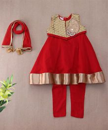 Saka Designs Kurti & Churidar Set With Shrug - Bright Red And Bronze