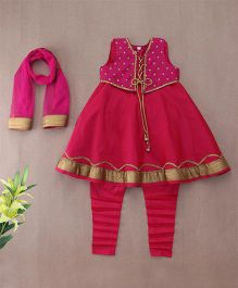Saka Kurti & Churidar Set With Shrug - Magenta Golden