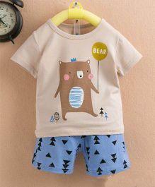 Aww Hunnie Bear Printed Tee & Short Summer Set - Blue & Beige