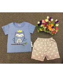 Aww Hunnie Owl Printed Tee & Short Summer Set - Blue & Light Brown