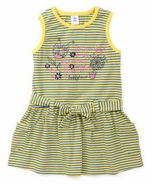 Toffyhouse Sleeveless Stripes Printed Frock With Fabric Belt And Pocket - Yellow