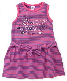 Toffyhouse Sleeveless Stripes Printed Frock With Fabric Belt And Pocket - Pink