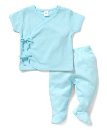 Toffyhouse Half Sleeves Night Suit - Teal Blue