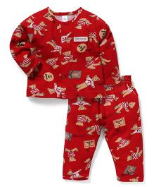 Toffyhouse Full Sleeves Night Suit Teddy Print - Red