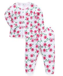 Toffyhouse Full Sleeves Night Suit Floral Print - White & Pink
