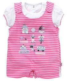 Toffyhouse Stripes Dungaree Printed And Patches With Inner Tee - Pink White